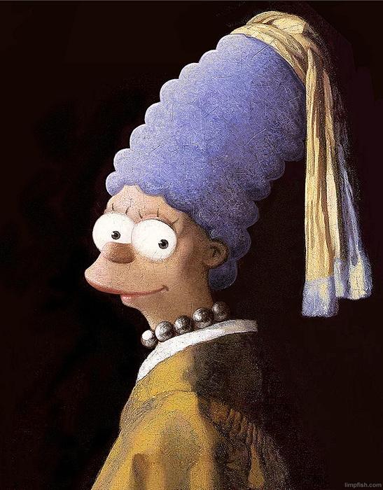 *Мардж Симсон с жемчужним колье* в стиле Вермеера.
