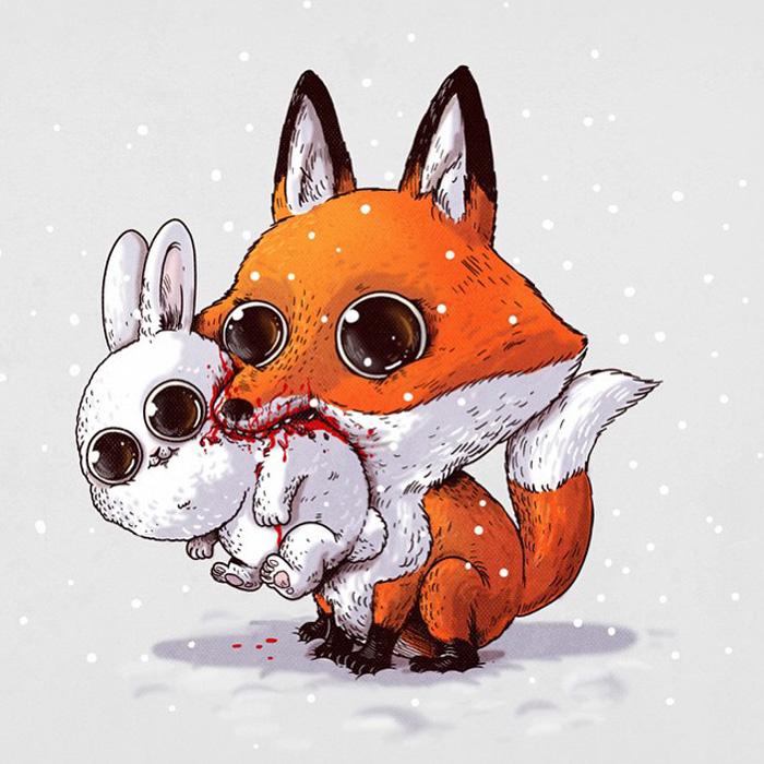 Лисичка с зайчиком. Иллюстрации Алекса Солиса.