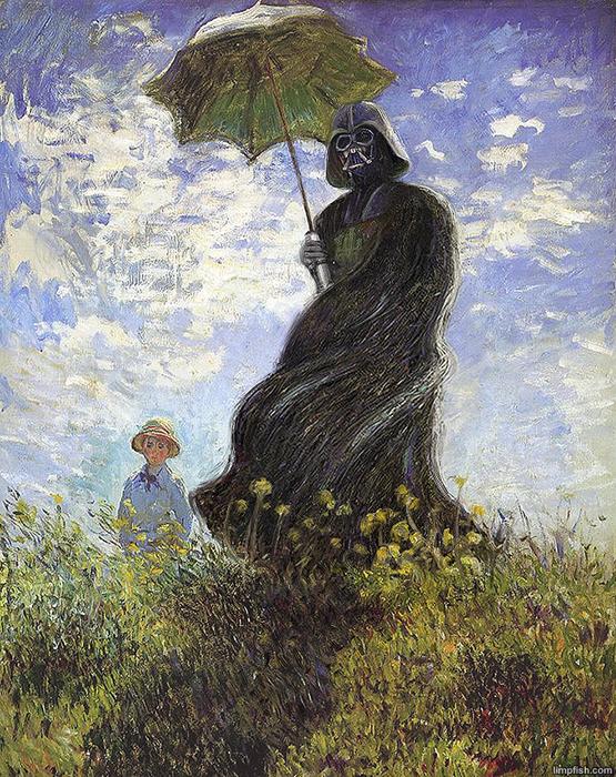 *Отец с зонтиком* в стиле Моне.