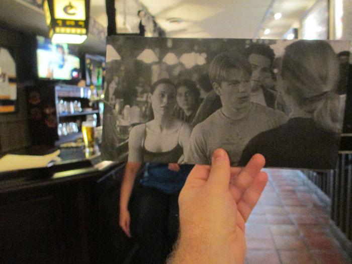 Мэтт Деймон в Бостоне во время съемок фильма «Умница Уилл Хантинг».