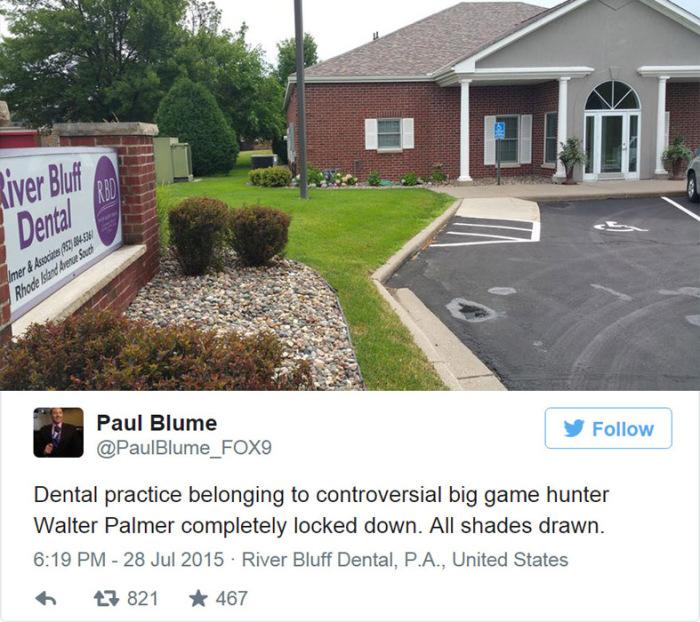 Сейчас клиника Уолтера Палмера закрыта.