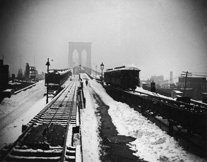 Бруклинский мост во время метели. Март 1888г.
