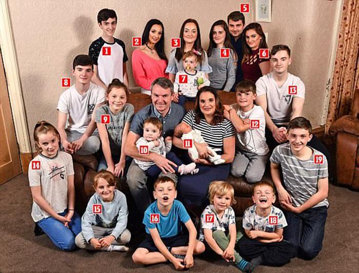 1. Люк 16 лет, 2. Хлоя 22 года, 3. Милли 16 лет, 4. Кэйти 14 лет, 5. Крис, 28 лет, 6. Софи 23 года, 7. Хелли два года,8. Даниэль 18 лет, 9. Элли 12 лет, 10.Фиби 13 мес., 11. новорожденный Арчи, 12. Джош 10 лет, 13.Джек 20 лет, 14.Эйми 11 лет, 15. Тилли 7 лет, 16. Макс 8 лет, 17. Каспер 4 года, 18. Оскар пять лет, 19. Джеймс 13 лет.
