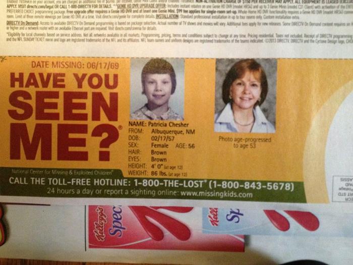 Девочка пропала в 1969. Сейчас ей должно быть 53 года.
