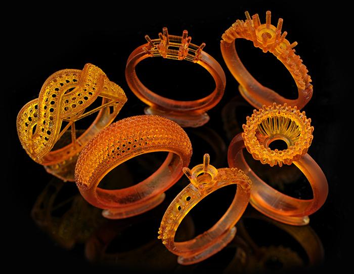 Кольца, напечатанные на 3D-принтере.