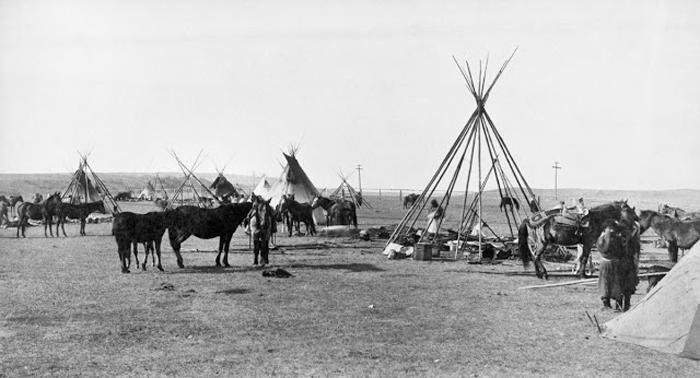 Передвижной лагерь племени Сарси около Калгари, 1887 г.  Автор фото: Alex Ross.