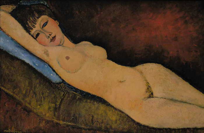 Nu Couché au coussin Bleu, 1916 г. Автор: Amedeo Modigliani.