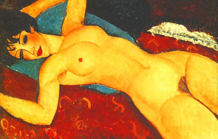 Портрет в стиле ню. Автор: Amedeo Modigliani.