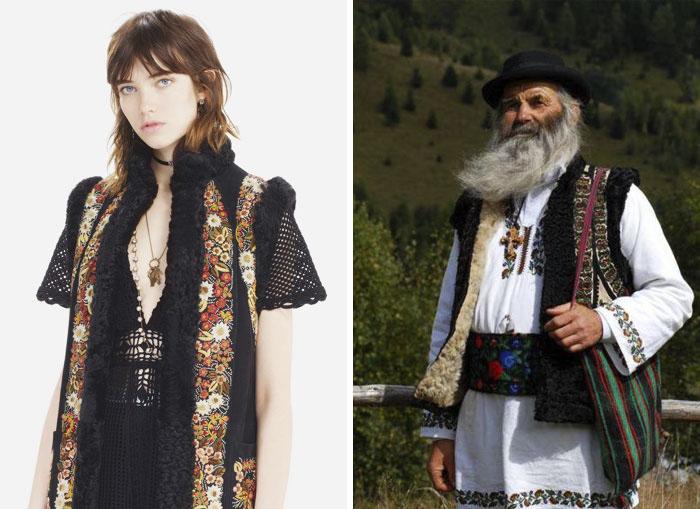 Одежда от Dior и национальная одежда Румынии.