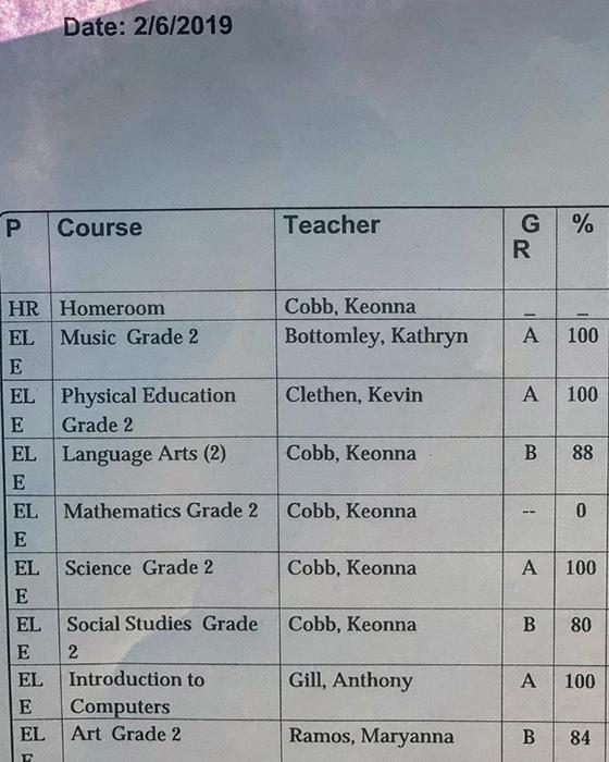 Отметки по предметам в школе.