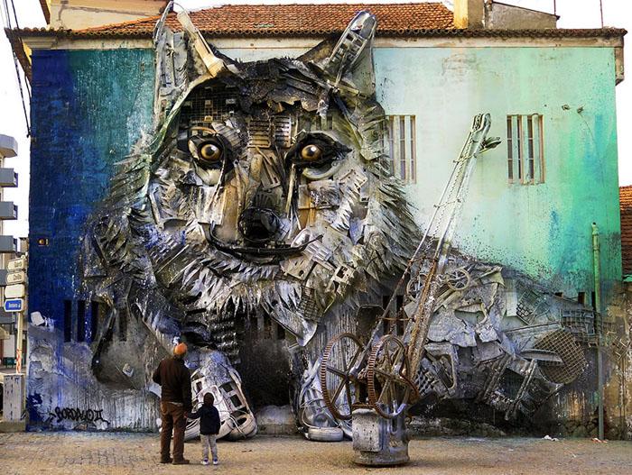 Волк.  Автор: Bordalo II.