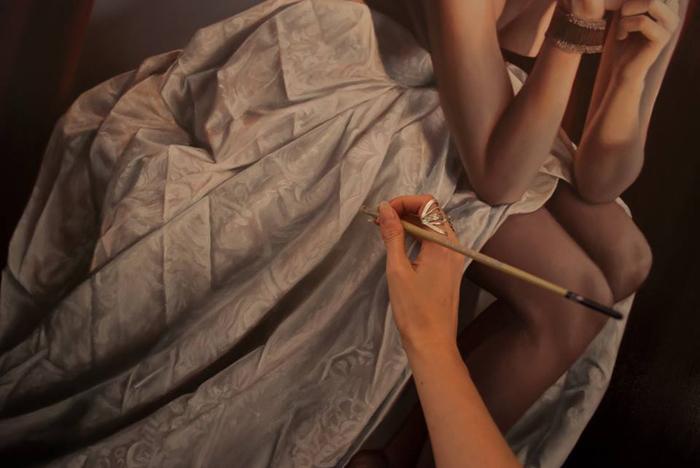 Рисунок ткани. Процесс создания картины. Автор: Bronwyn Hill.