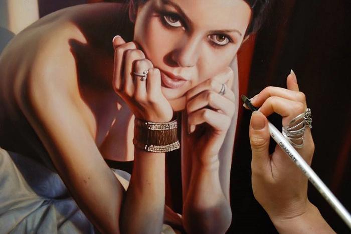 Процесс создания картины.  Автор: Bronwyn Hill.