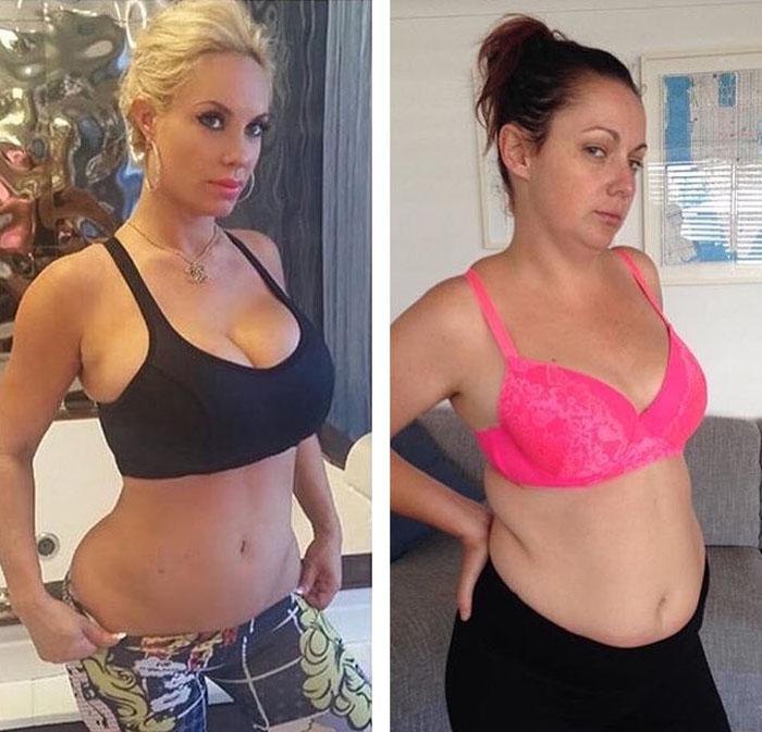 Слева вы видите тело 2 недели спустя после родов. Справа - тело 2 года спустя после родов.  Фото: Celeste Barber.