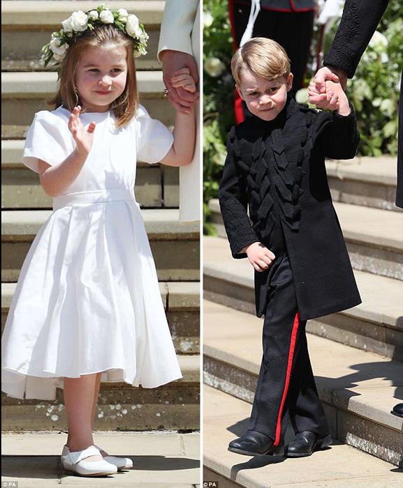 Шарлотта и Джордж на свадьбе Гарри и Меган.