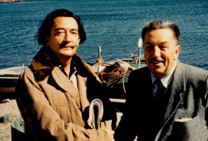 Сальвадор Дали и Уолт Дисней на побережье Испании 1957г.
