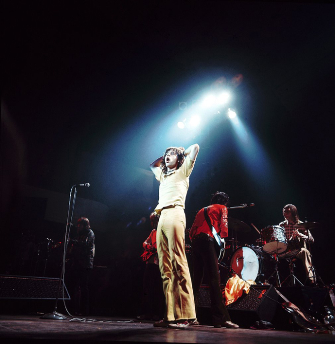 The Rolling Stones на сцене в Colston Hall. Бристоль, 1971г. Автор фото: David Redfern.