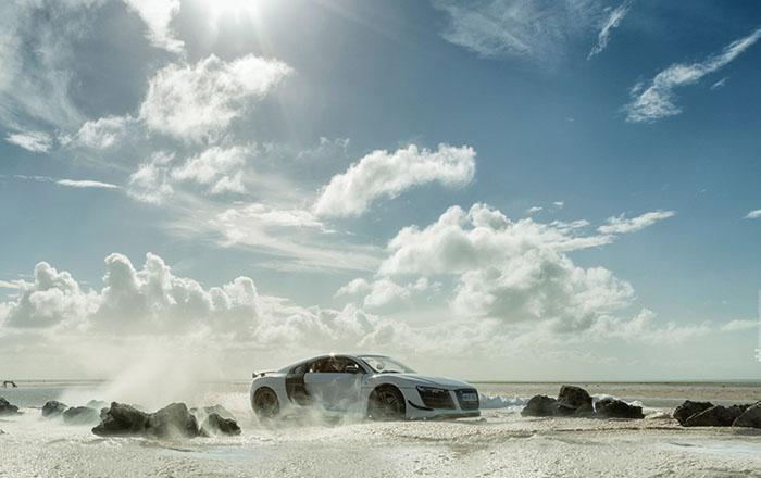 Рекламная фотография для спортивного автомобиля Audi R8.