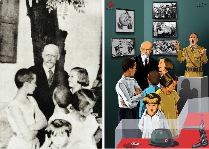 Януш Корчак, польский врач, до последнего помогавший еврейским детям во время Второй Мировой Войны. Умер вместе с ними в газовой камере.