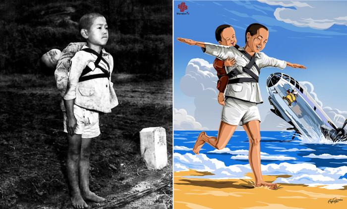 Японский мальчик стоит по стойке смирно. Он принес своего умершего младшего брата на кремацию. 1945г.