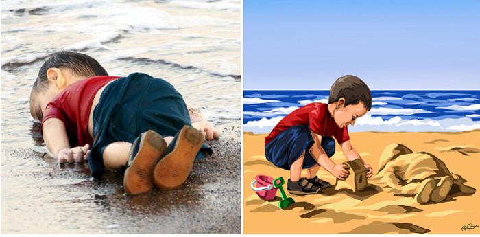 Смерть сирийского мальчика Айлана Курди. Лодка, в которой он плыл с родителями, спасаясь от войны в Сирии, перевернулась.