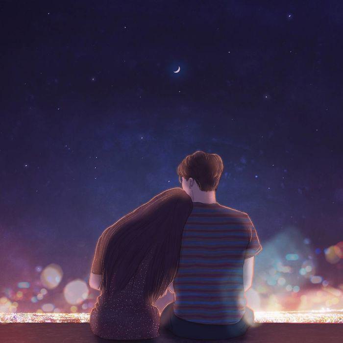 Рассматривать огни города.  Автор: Hyocheon Jeong.