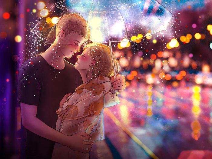Гулять под дождем и целоваться.  Автор: Hyocheon Jeong.