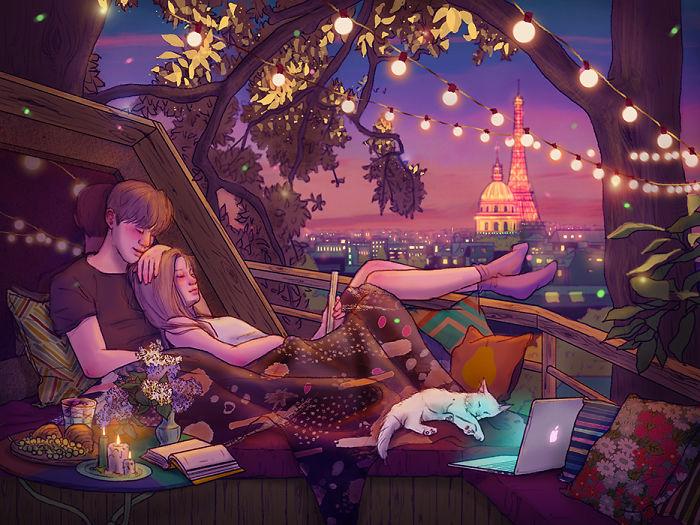 Просто наслаждаться вечером вместе.  Автор: Hyocheon Jeong.