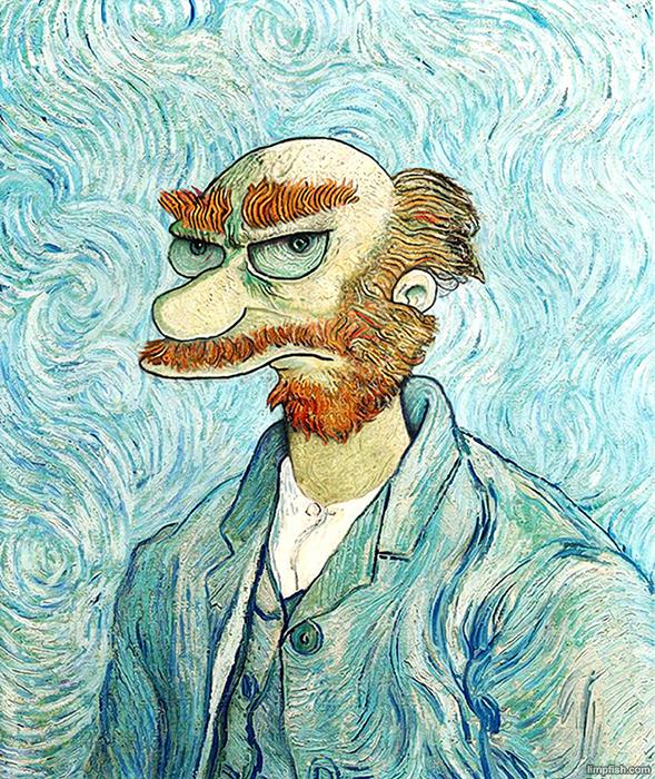 Садовник Вилли из *Симпсонов* в стиле Ван Гога.
