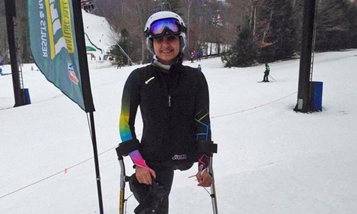 Инша стала на лыжи, несмотря на отсутствие одной ноги.
