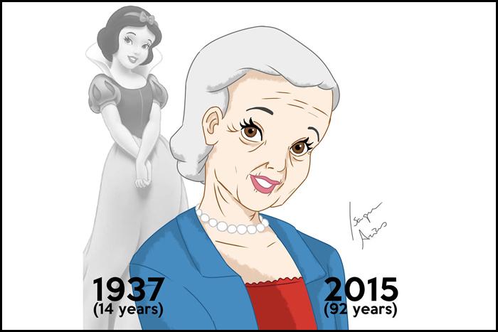 В мультфильме белоснежке было 14 лет. Сейчас ей должно быть 92.