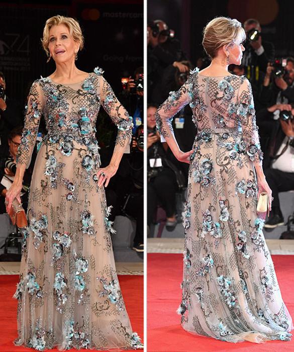 Умопомрачительное платье Джейн Фонда.
