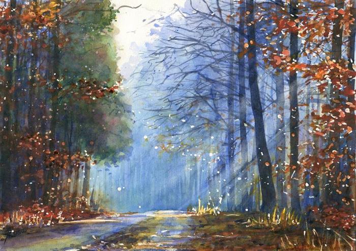 Лес в голубом свете. Автор: Joanna Rosa.