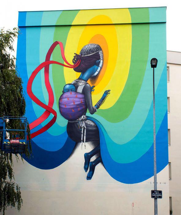 Работа на muralfestival в Монтреале.  Автор: Julien Malland.
