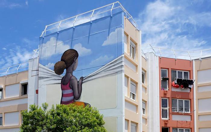 Яркие работы уличного художника Julien Malland. Le Port, Reunion Island.