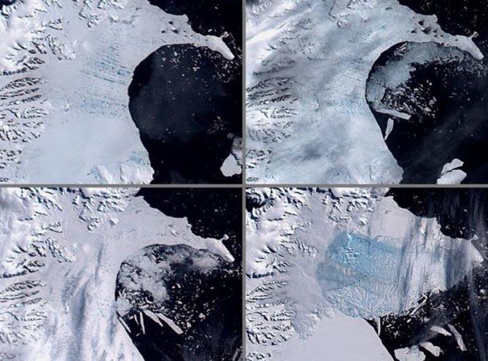 Размещено видео 40-километровой трещины вледнике Антарктиды