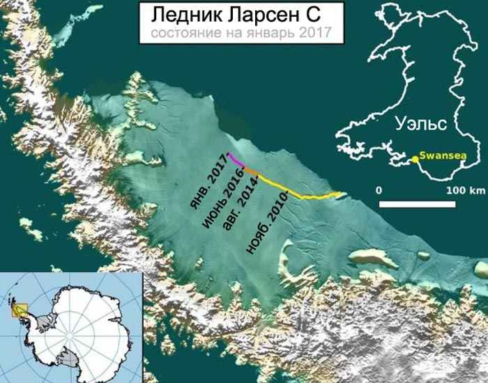 ВАнтарктике вледнике возросла трещина