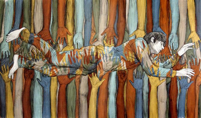 Одно из цветных граффити Levalet.