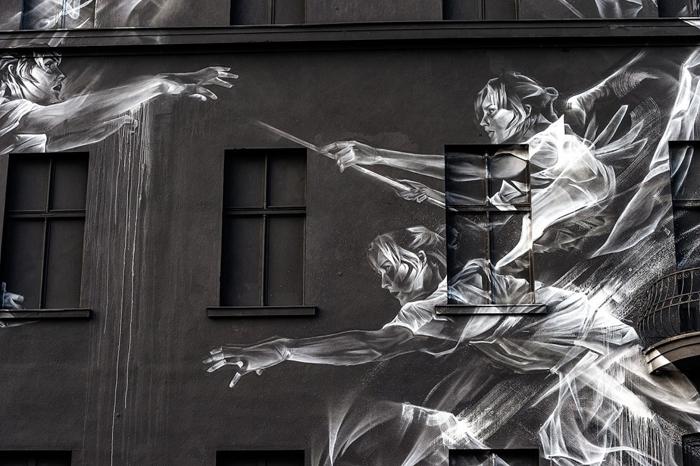 Rise And Fall. Аэрозоль по бетону. Берлин 2015г.