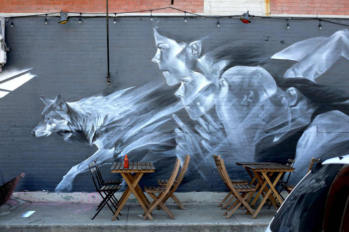 Nothing Wild 1. Аэрозоль по кирпичу. Бруклин, 2015г.
