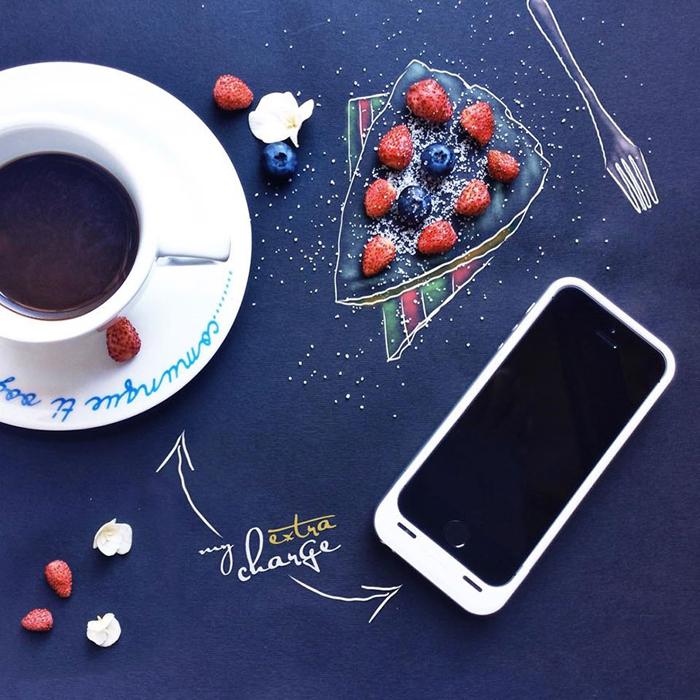 Работы за завтраком от итальянской художницы.