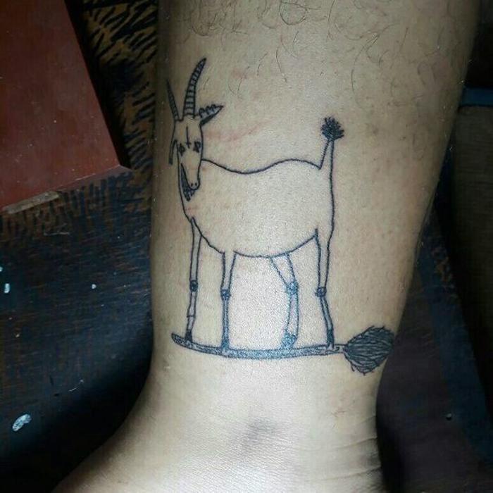 Коза на метле. Instagram Malfeitona.