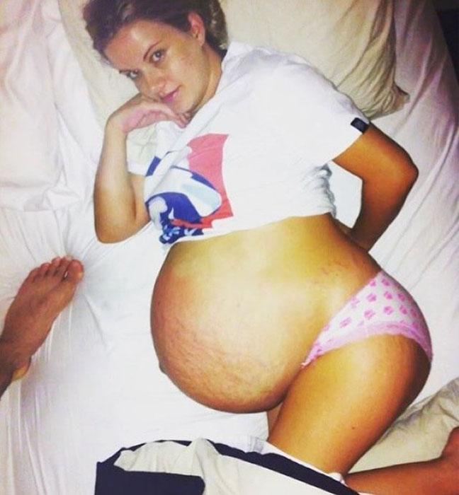 Мелани Варни во время одной из своих беременностей.