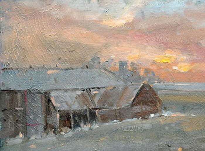 Амбар на восходе солнца.  Автор: Kieron Williamson.