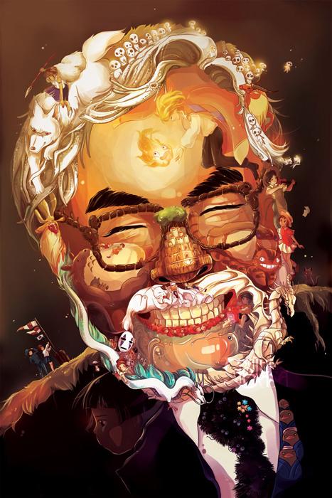 Художественный портрет Хаяо Миядзаки.