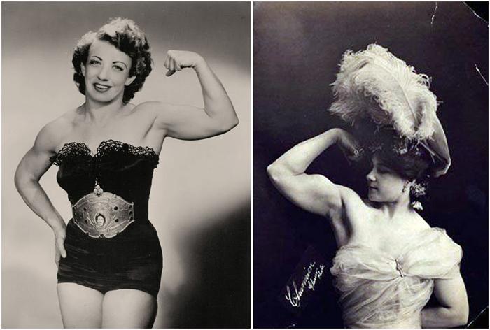 Цирковые артистки начала 20-го века, поражающие публику своей силой.