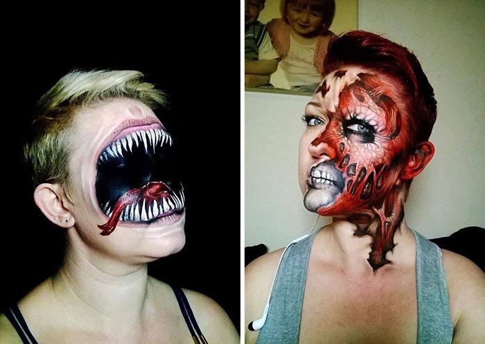 Жуткий макияж к Хеллоуину.