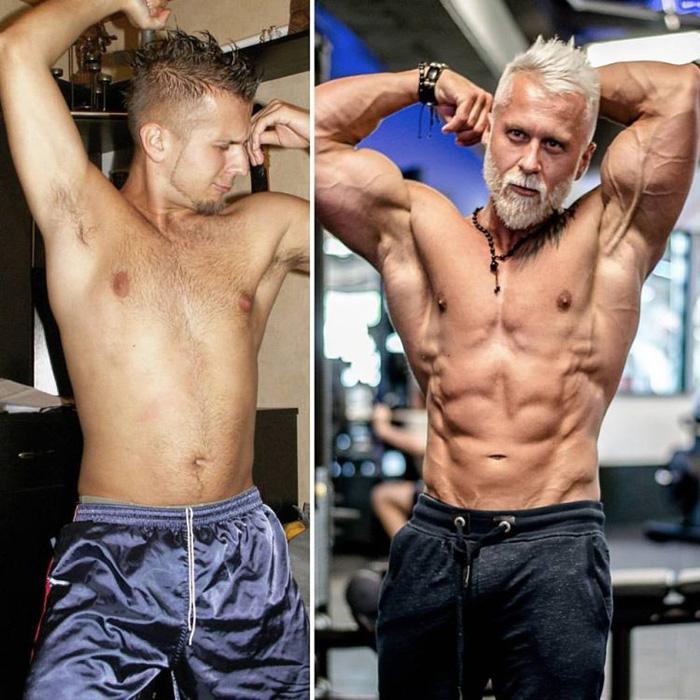Павел Ладзяк до и после занятий бодибилдингом.