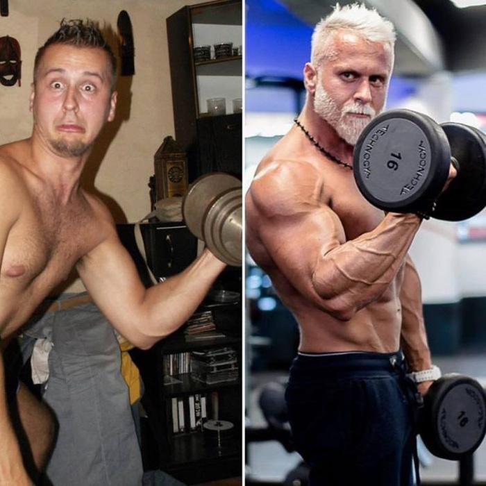 Павел Ладзяк до и после начала занятий бодибилдингом.