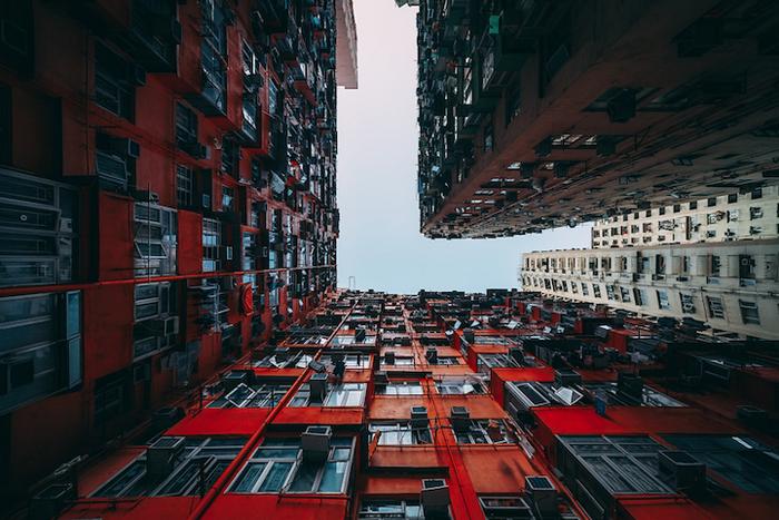 Плотная жилая застройка жилых кварталов Гонконга.